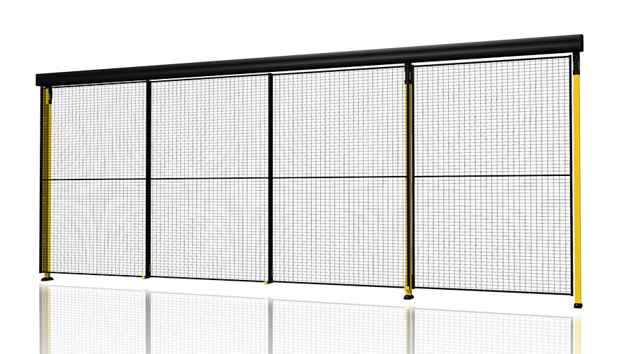 Triple sliding door with 3-step rail