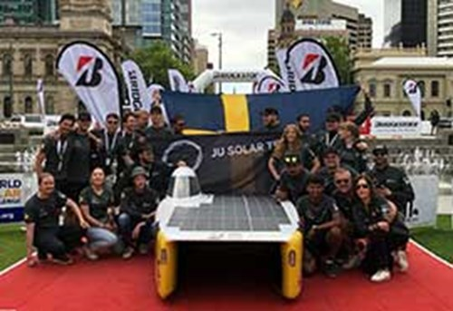 The solar car has crossed the finish line!